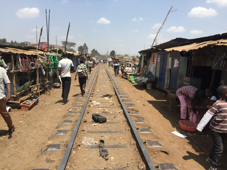 track cutting through Kibera